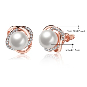 E871 Pearl Decor Antiallergic 18K Real Gold Plated Women Ear Studs Earrings - Rose Gold Plated