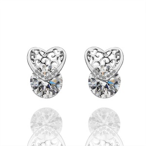 E438 Trendy Plating Tin Alloy Shiny Rhinestone Ear Studs for Ladies - Platinum Color Plated