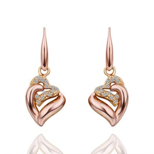 GPE410 Fashionable Zircon Decor Plating Alloy Romantic Double Heart Pattern Earrings for Women - Rose Gold Plated