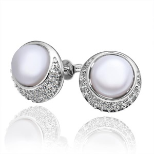 E018 Elegance Women's Earrings Pearl Decoration Plating Copper Zircon Ear Studs