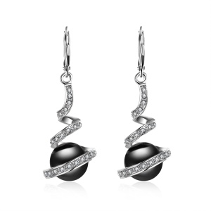 E255 Wholesale Earrings Delicate Zircon Decoration Imitation Pearl Earrings for Ladies - Black