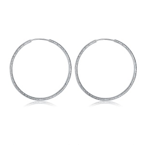 LKNSPCE044 Women's Romantic Round Silver Plated Earrings