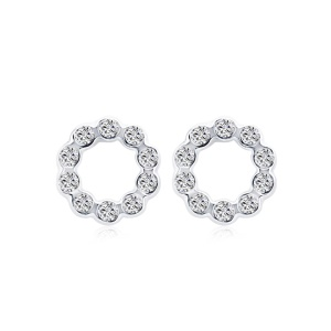 GPE1575 Fashionable Round Austrian Crystals Decor Push-back Earrings for Women
