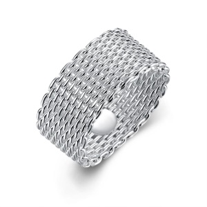R040-5 White Woven Women Trendy Party Silver Plated Double Round Copper Ring - Size: 8