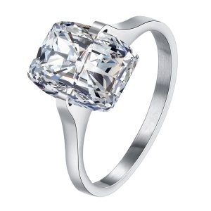 TGR190 Simple Style Square Shaped Zircon Ring for Women - Size: 6