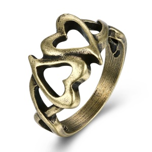 VSR0017 Women Retro Style Hollow Heart Antique Bronze Plated Zinc Alloy Ring - Size: 7