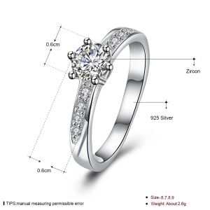 SH-R0028 Romantic Wedding Jewelry Shiny Zircon Platinum Plated 925 Silver Engagement Rings for Women - Size: 7