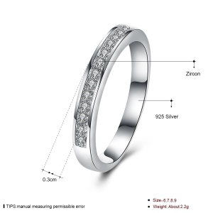 SH-R0058 Ladies Prom Rings Stylish Platinum Plated Zircon Silver Cheap Rings - Size: 9
