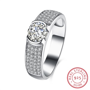 SVR107 Exquisite 925 Real Sterling Silver Shiny Zircon Rings Women's Jewelry - Size: 9