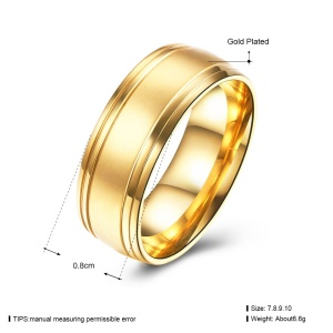 TGR218-A Popular Gold Color Plated Stainless Steel Cheap Metal Rings for Men - Size: 7