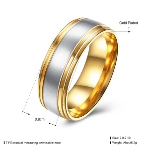 TGR219-A Simple Stylish Steel Rings Jewelry Wholesale Gold Plated Rings for Men - Size: 8
