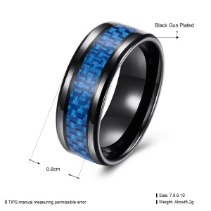 TGR228 Titanium Series Western Style Trendy Stainless Steel Metal Rings for Men - Blue / Size: 7