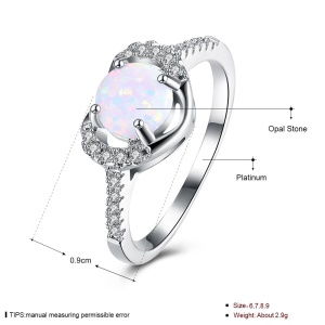 GEMR039 Trendy Shiny Zircon Opal Stone Decor Platinum Plated Party Rings for Women - Tamanho: 7