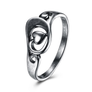 VSR0025 Chic Heart Pattern Antique Silver Plated Nice Party Rings - Size: 6