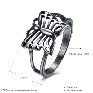 VSR0041 Women Jewelry Hollow Butterfly Shape Antique Silver Plated Copper Ring - Size: 9