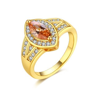 KZCR451-A Women Shiny Oval Zircon Prong Setting Decor Gold Plated Copper Double Ring - Gold Plated / Size: 6