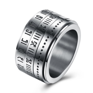 TGR171 Man Fancy Rotary Number Design Black Gun Plated Stainless Steel Ring - Size: 710