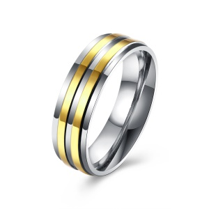 TGR156-A Simple Stripe Titanium Zircon Tension Setting Fancy Popular Stainless Steel Gold Plated Double Round Ring - Size: 9