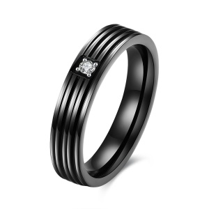 TGR159-D Simple Stripe Black Titanium Zircon Tension Setting Fashion Popular Stainless Steel Black Gun Plated Double Round Ring - Size: 6