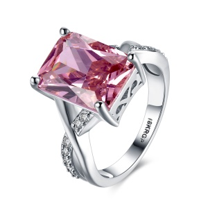 PR827 Contracted Fashionable Platinum Plated Zircon Stone Wedding Rings for Women - Pink