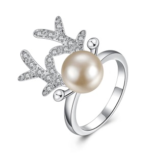R790 Fashion Imitation Pearl Zircon Antlers Shaped Plating Copper Ring for Women - Size: 7