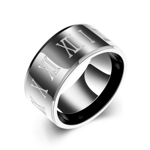 TGR017 Men Chic Classic Black Gun Plated Stainless Steel Ring - Size: 10