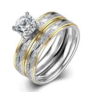 TGR063-A Western Style Women's Rings Titanium Steel Gold Plated Zircon Rings - Size: 7