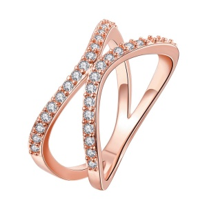 KZCR147-B Rose Gold Plated Copper Ring for Women Creative Geometric Double Ring Type Zircon Prong Setting - Rose Gold / Size: 8