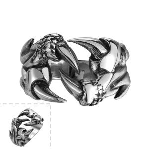GMYR114 Stainless Steel Dragon Claw Punk Style Men Finger Ring - Size: 10
