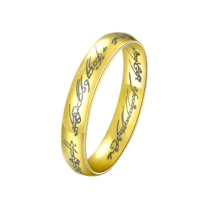 R224-8 Gold Plated Round Lettering Steel Simple Engagement Ring for Women - Size: 6