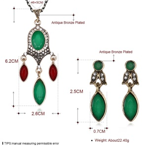 Premium Stone Plated Pendant Necklace Drop Earrings Fashion Jewelry Set - Style A