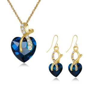 FSS030 Heart Pattern Stone Plated Necklace Dangle Earrings Fashion Jewelry Set - Blue