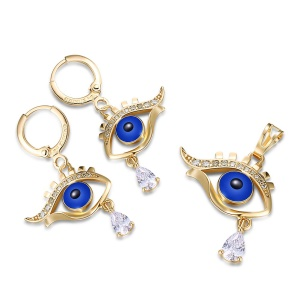 S1338 Fish Eye Pattern Plated Earrings Stud Pendant Fashion Jewelry Set