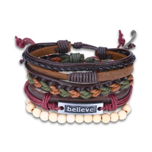 FSH320 Fashion Woven Leather Bracelet Beads Decor Lace-up Clasp Charm Bracelet for Men and Women