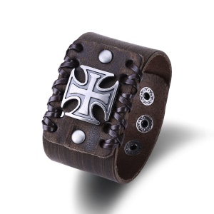 FSH360 Fashion Punk Style Leather Bracelet Cross Pattern Spring-ring Clasp Charm Bracelet for Men and Women - Brown