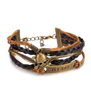 FSH207 NEW Jewelry Skeleton Wings Fashion Leather Cute Infinity Charm Bracelet Silver Antique Bronze Plated Bracelet