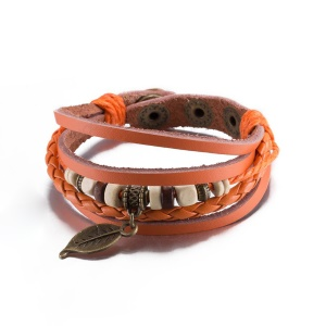 FSH103 Fashion Knitting Leather Bracelet Leaf Pattern Decoration Spring-ring Clasp Chain Bracelet - Orange