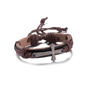 FSH085 Cross Decor Leather Charm Bracelet Statement Jewelry Rope Wristband for Women - Brown