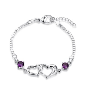 PCH472 Fashion Hollowed-out Heart-shaped Decoration Bracelet for Lady Plated Copper Charm Bracelet
