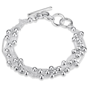 LKNSPCH101 Silver Plated Multiple Layered Beads Link Chain Bracelet for Men and Women