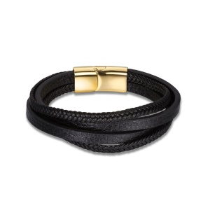 TGH0069 Men's Punk Style Gold Plated Gemometric Magnet Clasp Leather Chain Bracelet