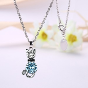 LKN18KRGPN1063 Trendy Zircon Zinc Alloy Platinum Plated Cute Cat Pendant Necklaces for Women