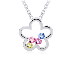 Lkn18krgpn1146 Cute Small Necklaces Five Petal Flower With Four Crystals Pendant Necklace For Girlfriend Celare Shop