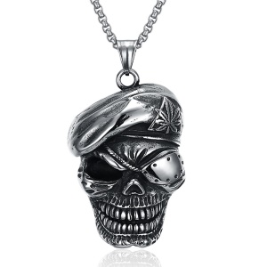 GMYN123 Retro Style Stainless Steel Antique Silver Plated Ghost Pendant Necklace for Man