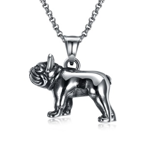 GMYN087 Dog Shape Design Punk Style Stainless Steel Antique Silver Plated Pendant Necklace for Man
