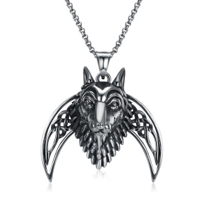 GMYN097 Punk Style Animal Shape Stainless Steel Antique Silver Plated Pendant Necklace for Man
