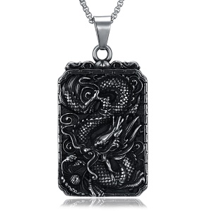 GMYN167 Dragon Plate Man's Necklaces Stainless Steel Antique Silver Plated Pendant Necklace