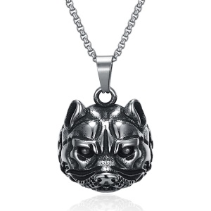 GMYN133 Trendy Animal Shape Stainless Steel Antique Silver Plated Pendant Necklace for Man