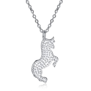 N0200 Trendy Women's Jewelry Bull Shaped Pendant Necklaces - Platinum Color Plated