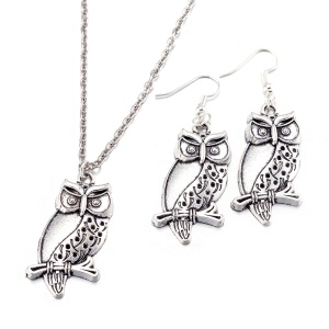 BKS015 Lovely Owl Pattern Jóias Set Drop Earrings Necklace Suit